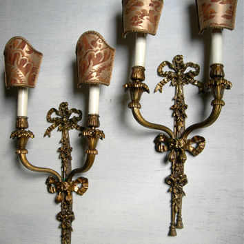 Pair of Antique French Louis XVI Gilt Bronze Wall Sconces with Fortuny Fabric Clip On Mini Lamp Shades - Made in Italy