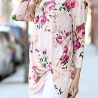 Pink Floral Front Twist Top Blouse