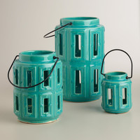 Blue Lamai Ceramic Lanterns - World Market