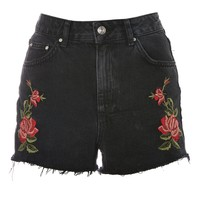 MOTO Rose Embroidered Mom Shorts - Denim - Clothing