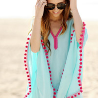 Sold Out ~ Studio Collection ~ Turquoise Pom Pom, Super Cute Swimsuit Cover Up, Studio Collection