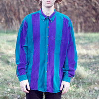 Vintage 80's Purple and Teal Large Stripe Shirt