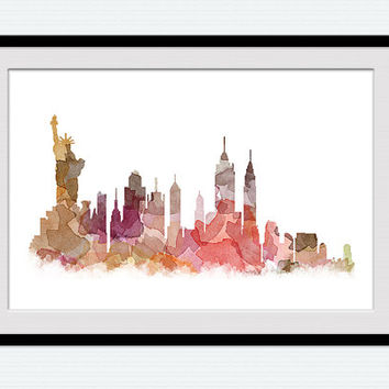 Watercolor New York skyline print New York colorful cityscape poster Office decoration gift Home decor art Wall hanging pastel poster W152