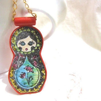Matryoshka nesting doll polymer clay necklace by moriadesigns