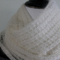 Hand knit lace silk,mohair spring summer white scarf