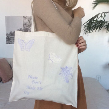 Please Don't Embroidered Tote