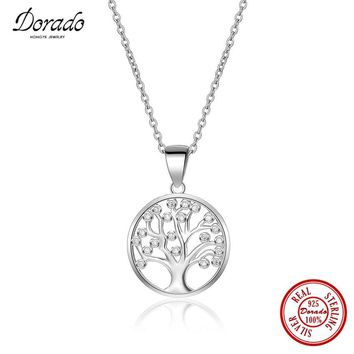Dorado 925 Sterling Silver AAA Zirconia Life Tree Pendant Necklaces for Women Genuine Silver Jewelry Necklace Gift
