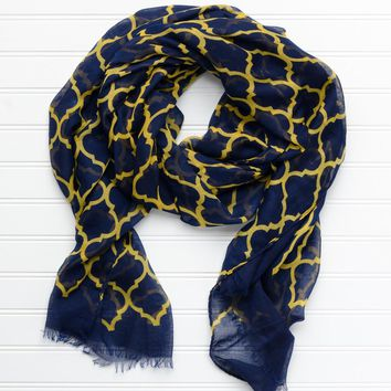 Vibrant Royal Scarf – Navy Gold