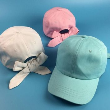 Fashion Women Cute Bowknot Curved Hat Summer Solid Candy Color Sun Shading Baseball Cap Female Cotton Visors Golf Lovely Hats