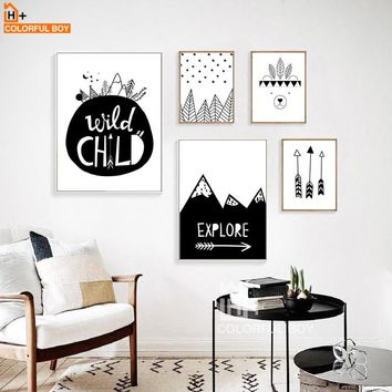 COLORFULBOY Arrow Explore Child Wall Art Print Canvas Painting Nordic Poster Black White Cartoon Wall Pictures Kids Room Decor