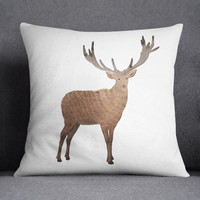 Woodland Deer Watercolor Throw Pillow