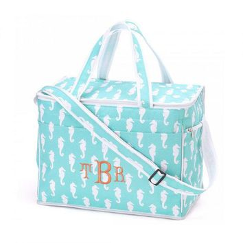 Aqua Seahorse Cooler Bag Insulated Tote   Monogrammed Personalized Beach Pool