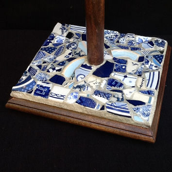 Mosaic Paper Towel Holder Blue Willow China, OOAK, Handmade, Mothers day, Home Decor, Unique Gift Idea, Kitchen Decor