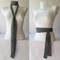 Black White Skinny Scarf, Houndstooth Fabric Scarf, Chiffon Scarf, Long Thin Scarf with Angled Ends, Neck Tie, Headband, Fashion Accessories