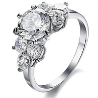 Dear Deer Stainless Steel Floral CZ Engagement Ring