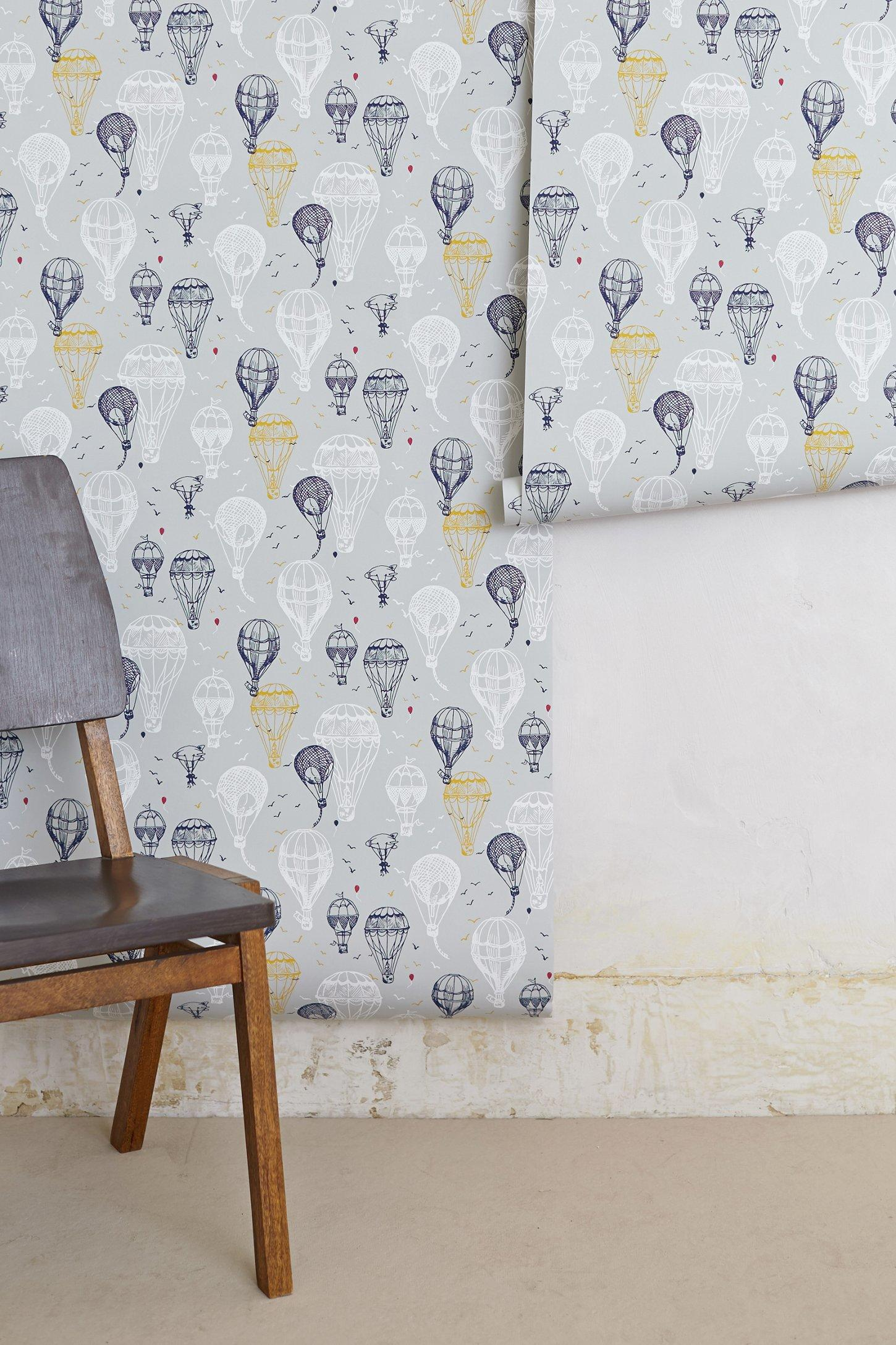 Hot air balloons wallpaper from anthropologie bedroom for Anthropologie wallpaper