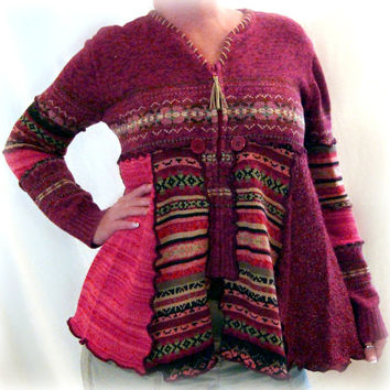 Marsala Sweater, Upcycled Sweater, Altered Couture