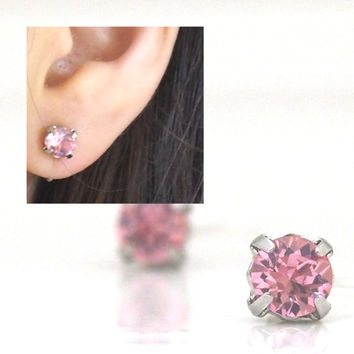 ebf651d1c 2 ways Invisible Clip On Earrings ! Rose Swarovski Crystal Clip on