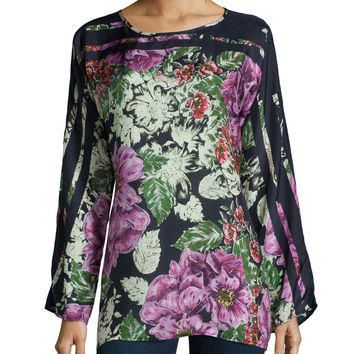 Long-Sleeve Floral-Print Silk Blouse, Size: