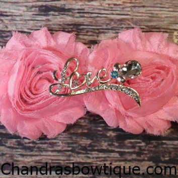 Beautiful Shabby Flowers and Bronze Love Rhinestone Headbands!