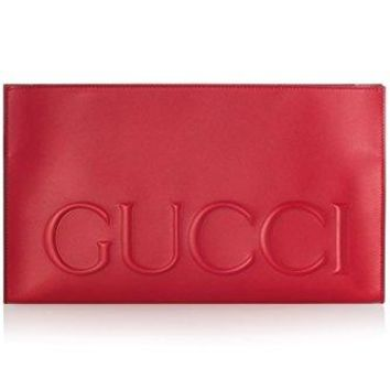 Gucci XL Red Calf Leather Large Clutch Bag Leather Envelope Bag Only 1 Italy New