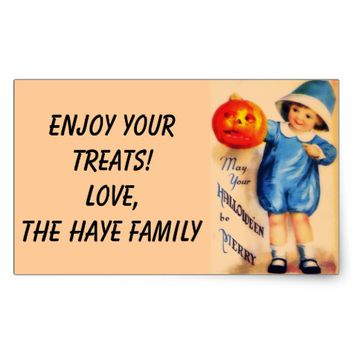 Little Boy With Pumpkin Rectangular Sticker