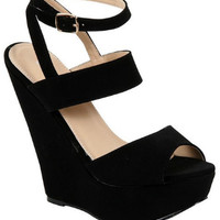 Piper Peeptoe Wedge - Black