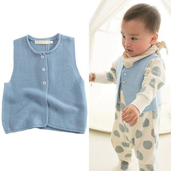 Baby Cotton Knitted Vests Toddler Sweater