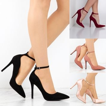 Women Ankle Strap Pumps Sandals Pointy Toe Shoes Fashion Casual Footwear
