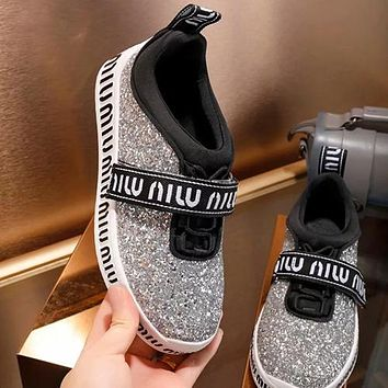MIUMIU Women Sequins Fashion Flats Shoes