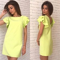 Sexy Backless Solid Color Dress
