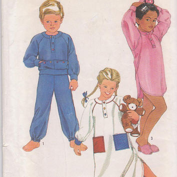 Vintage 1980s pattern for childrens pajamas or nightgown thigh or ankle length for stretch knits only size large 6 6X Simplicity 6692 UNCUT