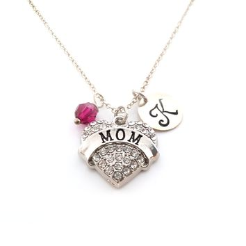 Mom Heart CZ Personalized Sterling Silver Necklace