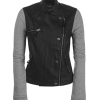 Aeropostale  Faux Leather & Knit Jacket - Black, X-Small