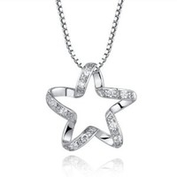 Women's 925 Sterling Silver Cubic Zirconia Pentagram Star Pendant Necklace