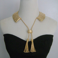 Amazing Mediterranean Egyptian Queen Cleopatra Style Versatile Collar Necklace Panel Link Gold Rhinestone Accent Fancy Tassel Magnetic Clasp