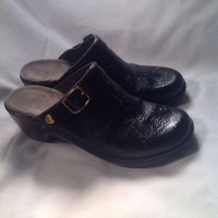"NUTURE ""Band""  BLACK LEATHER WEDGE CLOG SHOES SZ 8.5M Women's Mules Slip On"