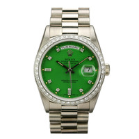 Rolex White Gold, Diamond Day-Date Stella Green Dial Ref 18349