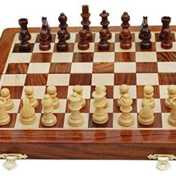 Handmade Magnetic Rosewood Folding Board Chess Set With Storage for Chessmen