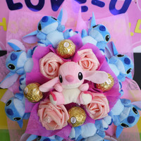 Stitch Plush Dolls Surrounded Angel Doll Flower Bouquet. Cute Birthday / Graduation / Christmas gift!