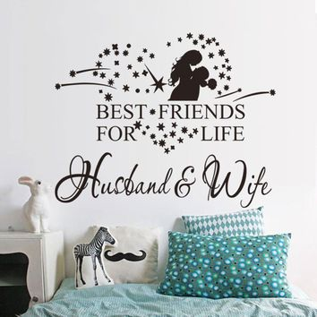 New Qualified 2017 New Couple Wall Sticker Husband And Wife Vinyl Decal Bedroom Wall Art Decor Sticker Home Decor dig6428