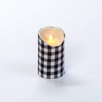 5 IN SMALL BLACK CHECK MOVING FLAME PILLAR CANDLE WITH TIMER