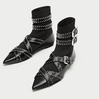 BUCKLED FLAT SOCK ANKLE BOOTSDETAILS