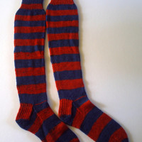 Ready to ship. Women's / teenager hand knitted over knee stripey bamboo socks. UK 4, US 6 , EU 37