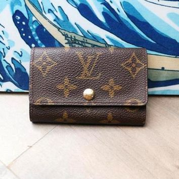 LV Louis Vuitton Stylish Monogram Print Buckle Canvas Key Pouch Key Packet I