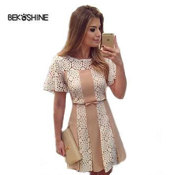 Bekoshine 2017 Newest Vestidos Women Summer Dress Fashion Casual O-Neck Short Sleeve Lace Dress Vestido de renda Party Dresses