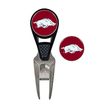 Arkansas Razorbacks CVX Golf Ball Mark Repair Tool and 2 Ball Markers