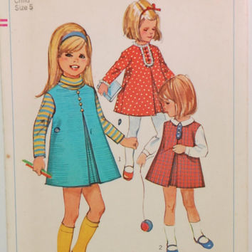 Vintage Simplicity 7187 (c. 1967) Girl's Size 5, Child's Jumper or Dress, Retro Sewing Pattern, Retro Children's Clothes, Gift Idea