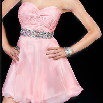 Pink Crystal Sweetheart Chiffon Short Cute Homecoming Dress