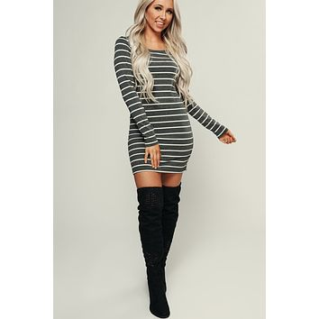 Sufficient Striped Dress (Charcoal/White)